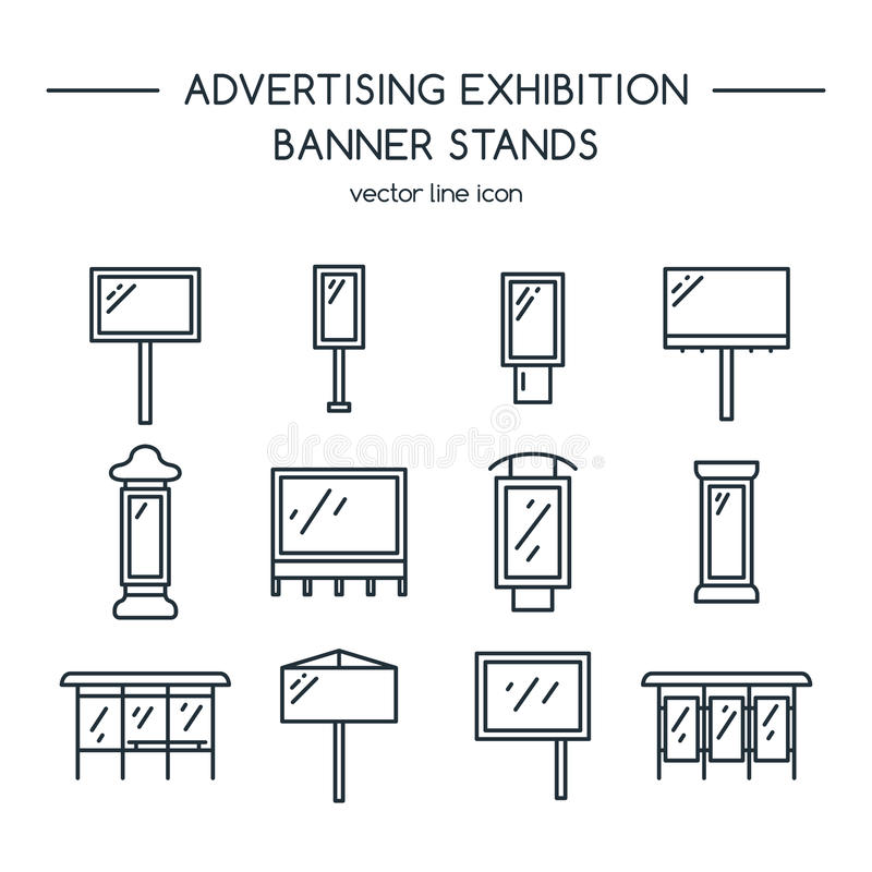 Advertising billboards and banner display, exhibition stands. Line icons set vector illustration