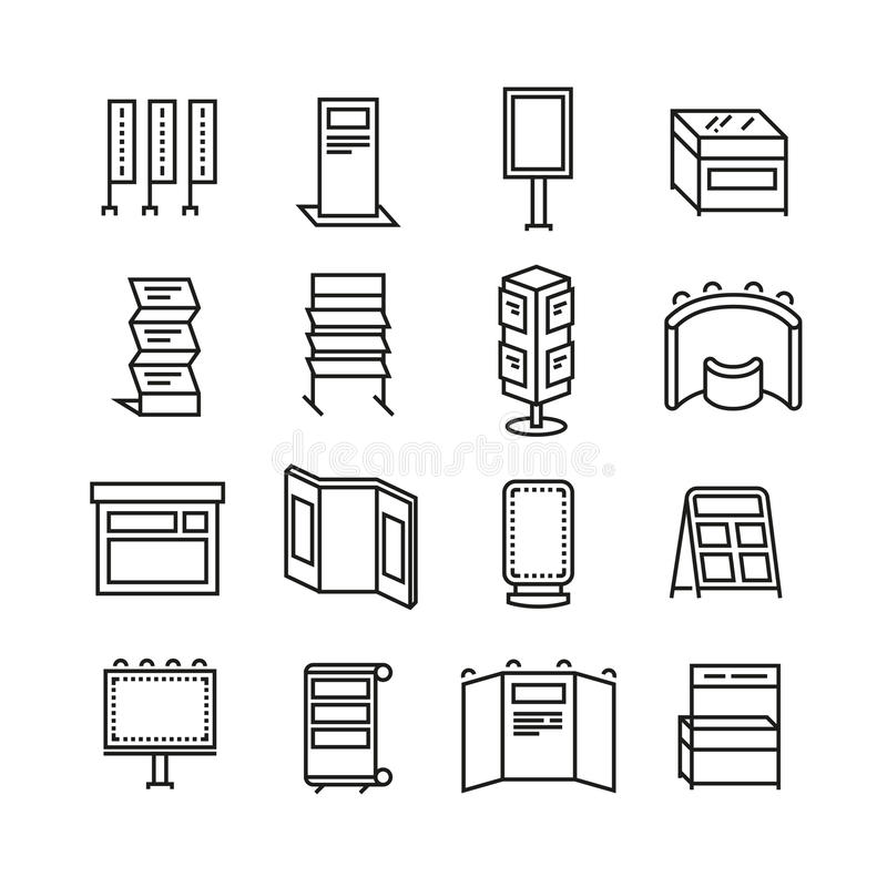 Advertising billboards and banner display, exhibition stands for trade show line icons set stock illustration