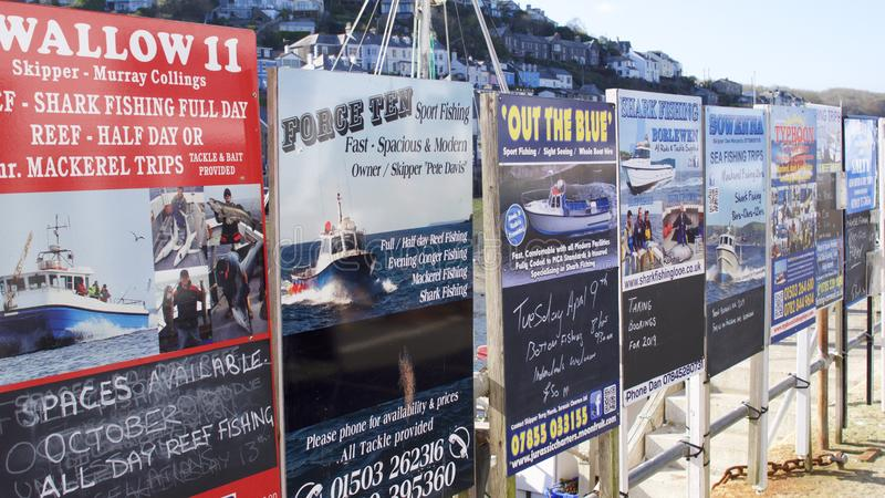 Advertising boards for day trips at the Cornish seaside royalty free stock photography