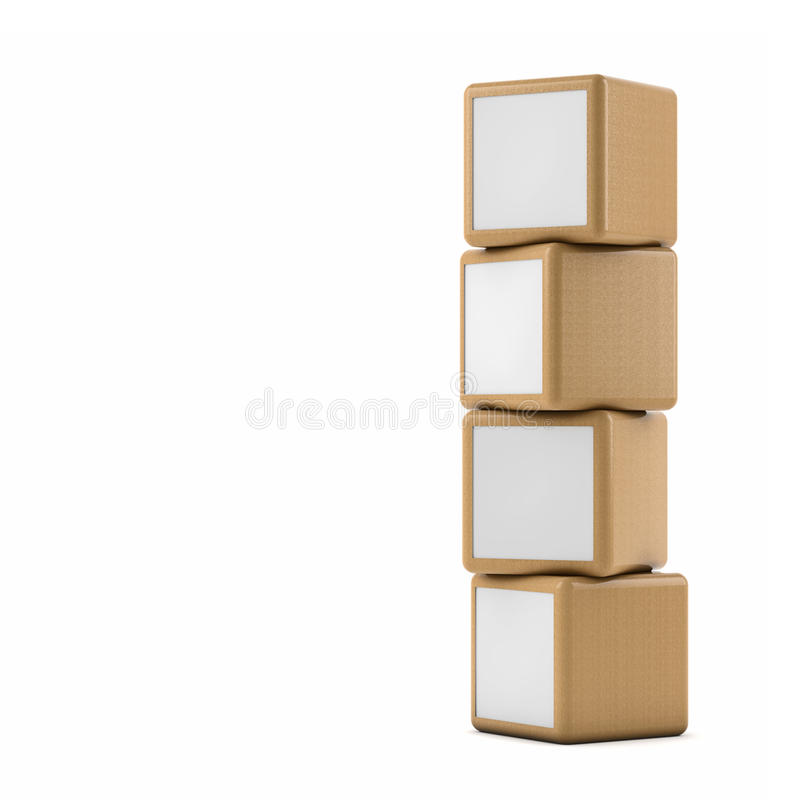 Advertising boxes. Pile on white background stock illustration