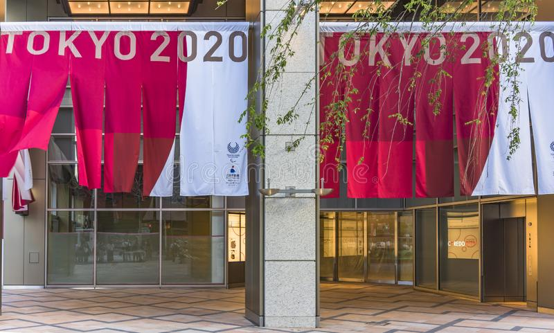Advertising campaign `FEEL 2020` organized on the theme of the future Olympic and Paralympic Games in Tokyo in 2020 stock image