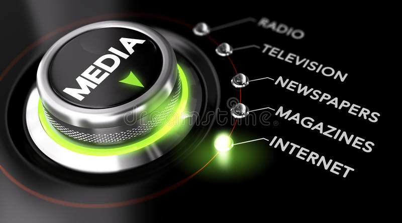 Advertising Campaign, Mass Medias. Switch button positioned on the word internet, black background and green light. Conceptual image for illustration of stock illustration