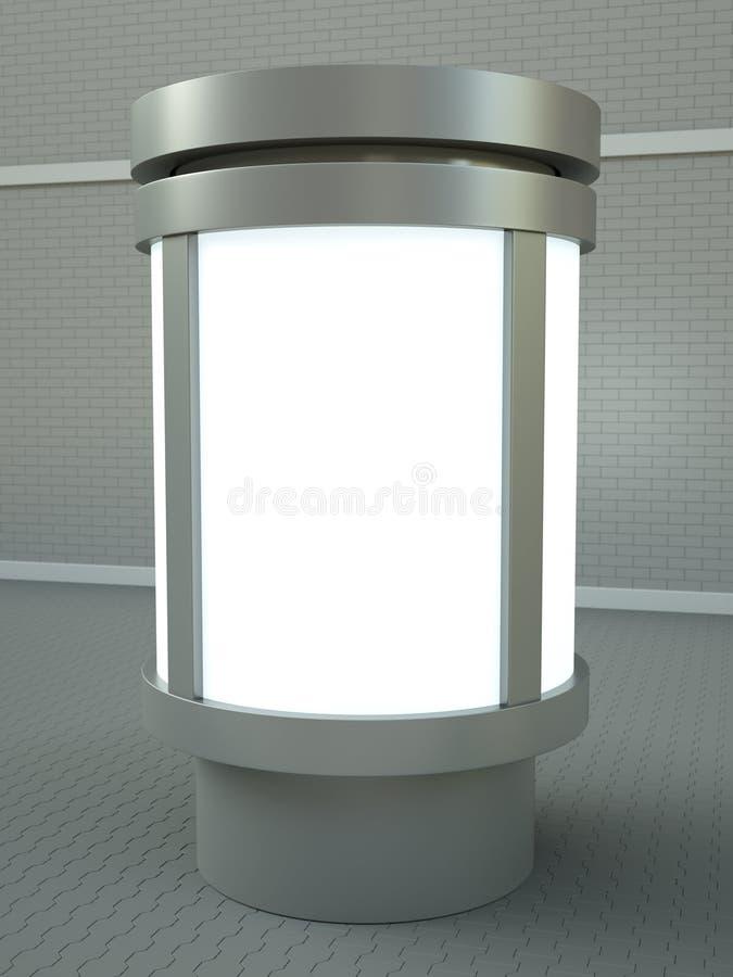 Advertising column. Citylight advertising pillar. 3D render royalty free illustration