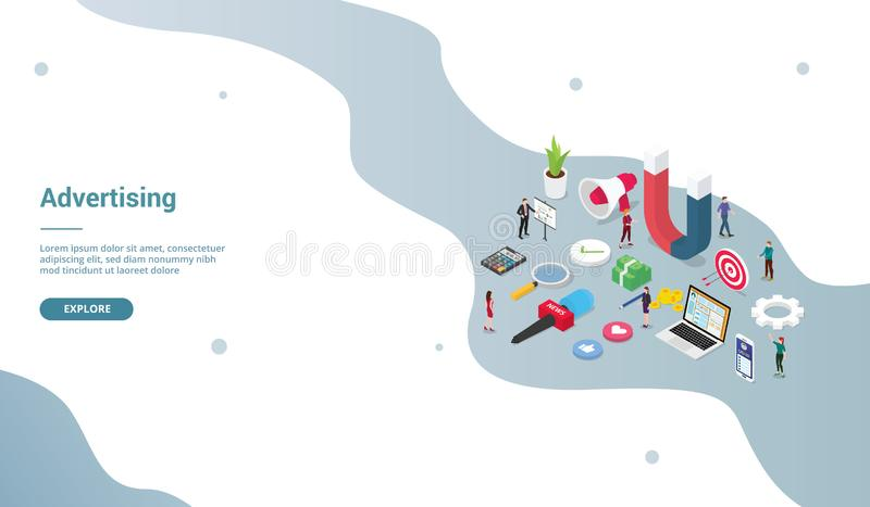 Advertising concept with big word and team people for market product for website template or landing homepage with modern stock illustration