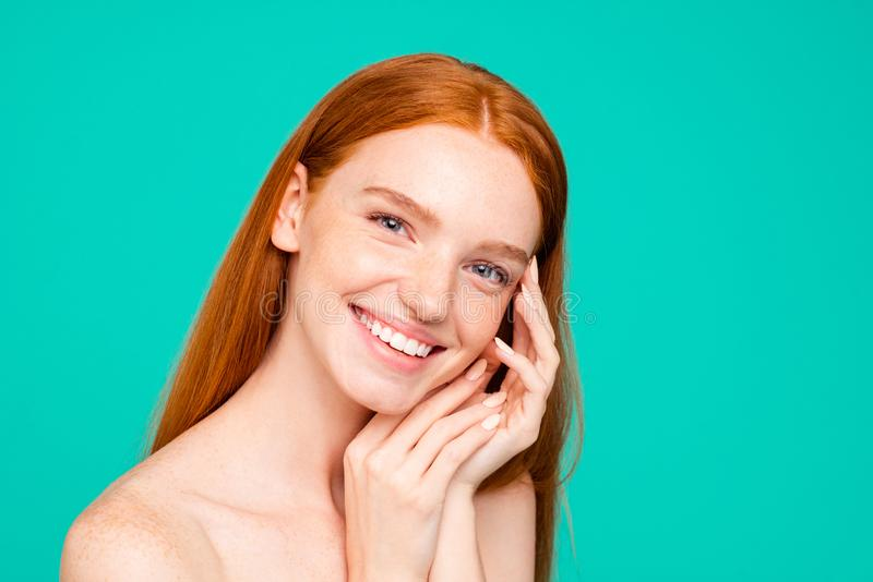 Advertising concept. Cheerful nude natural red girl, shiny pure stock images