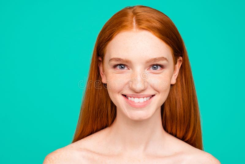 Advertising concept. Close-up portrait of nice cute cheerful att. Ractive red-haired girl with shiny pure fresh clean skin, beaming smile, spa, therapy royalty free stock image