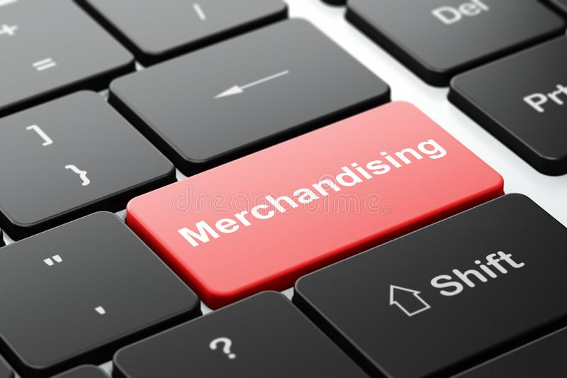 Advertising concept: Merchandising on computer keyboard background stock photos