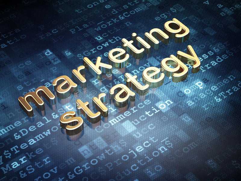 Advertising concept: Golden Marketing Strategy on digital background stock photo