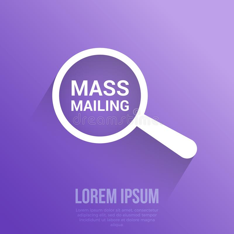 Advertising Concept: Magnifying Optical Glass With Words Mass Mailing. Vector illustration vector illustration