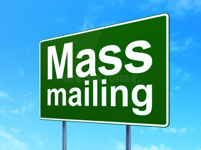 Advertising concept: Mass Mailing on road sign background. Advertising concept: Mass Mailing on green road highway sign, clear blue sky background, 3D rendering royalty free illustration