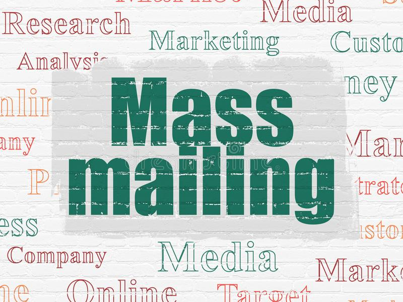 Advertising concept: Mass Mailing on wall background. Advertising concept: Painted green text Mass Mailing on White Brick wall background with Tag Cloud royalty free illustration