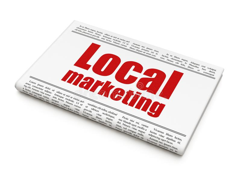 Advertising concept: newspaper headline Local Marketing. On White background, 3D rendering stock image