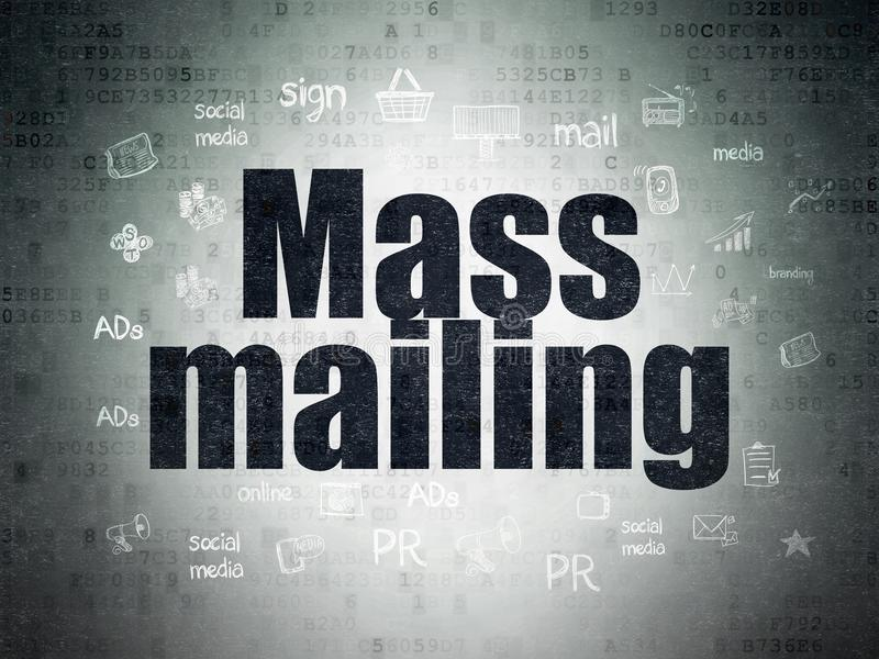 Advertising concept: Mass Mailing on Digital Data Paper background. Advertising concept: Painted black text Mass Mailing on Digital Data Paper background with vector illustration
