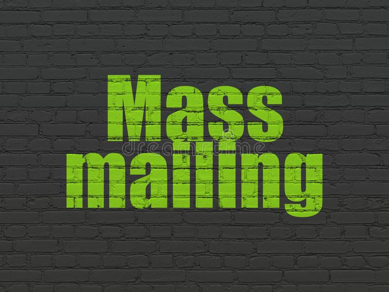 Advertising concept: Mass Mailing on wall background. Advertising concept: Painted green text Mass Mailing on Black Brick wall background stock illustration