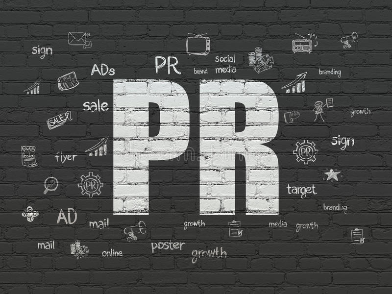 Advertising concept: PR on wall background stock illustration
