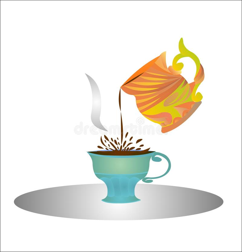 Advertising a cup of coffee pours a drink into another cup vector illustration