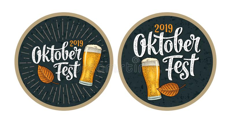 Advertising design for coaster. Oktoberfest 2017 lettering with rays. royalty free illustration