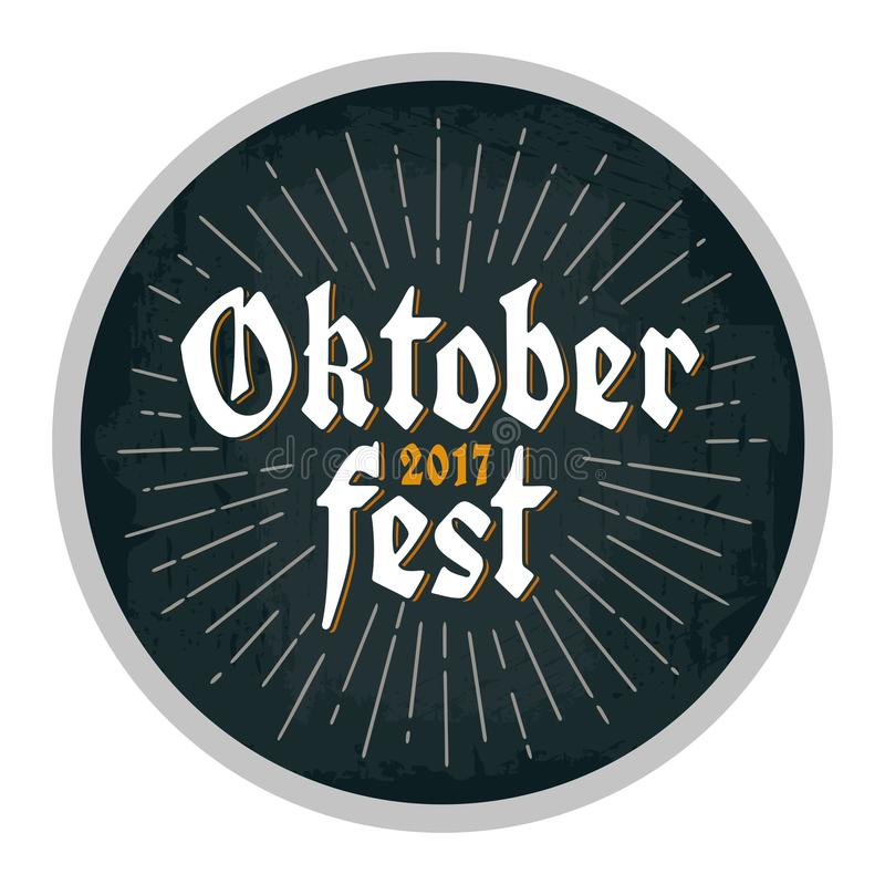 Advertising design for coaster. Oktoberfest 2017 lettering with rays. vector illustration