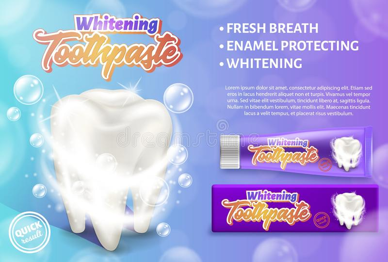Advertising design concept of the whitening toothpaste. Realistic vector illustration of the dental care and treatment. vector illustration