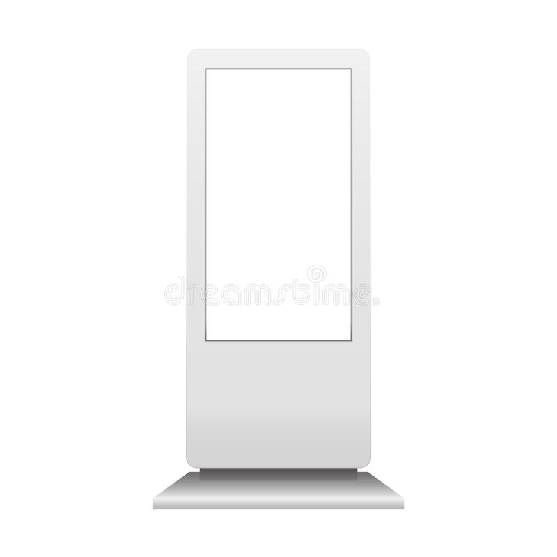 Advertising digital signage mockup isolated on white background. Multimedia stand template. Outdoor Advertising POS POI Stand Bann royalty free illustration