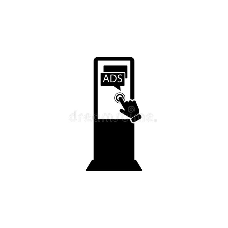 Advertising Display Concept on touch screen icon. Element of touch screen technology icon. Premium quality graphic design icon. Si. Gns and symbols collection royalty free illustration