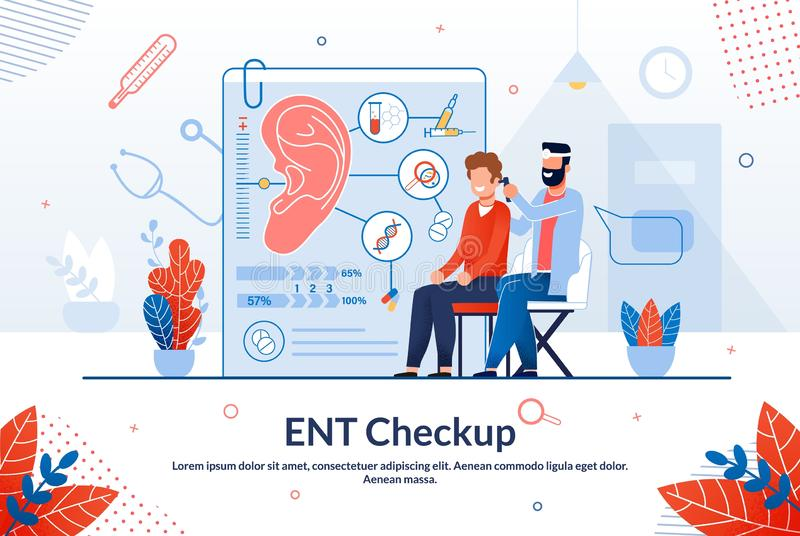 Advertising Flyer Ent Checkup Lettering Cartoon. Importance Regular Visits to Doctor. Man Sits on an Examination Chair, Next to Man Doctor Examines Patients vector illustration