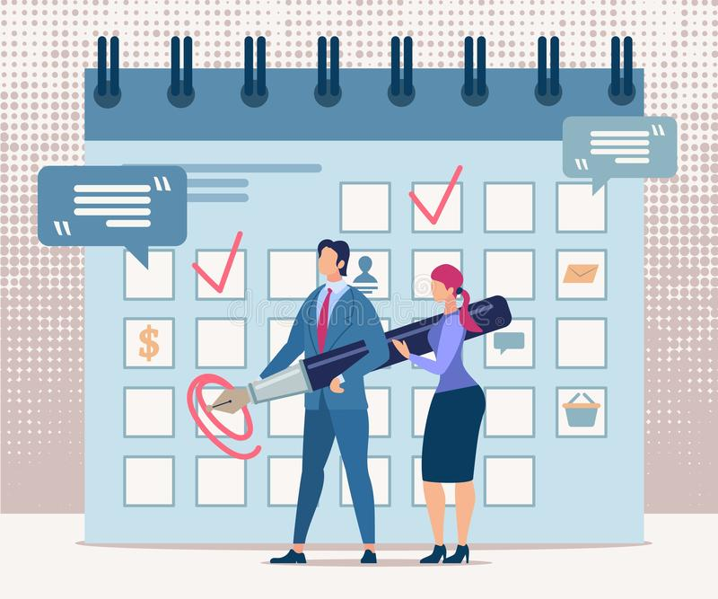 Advertising Flyer Financial Result Determination. Conceptual Idea Confirmation Result. Man and Woman Stand at Calendar and Make Notes. Calculation Financial vector illustration