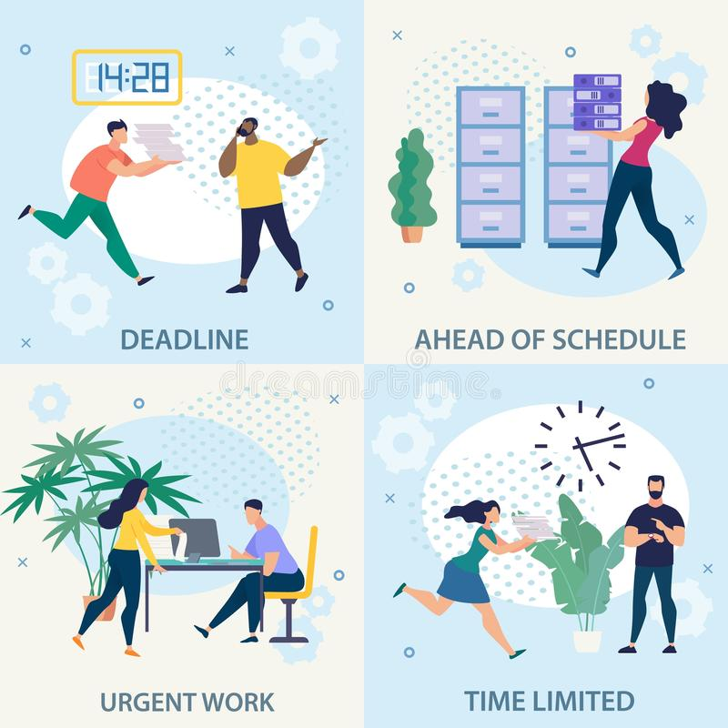Advertising Flyer Set Urgent Work Deadline Flat. vector illustration