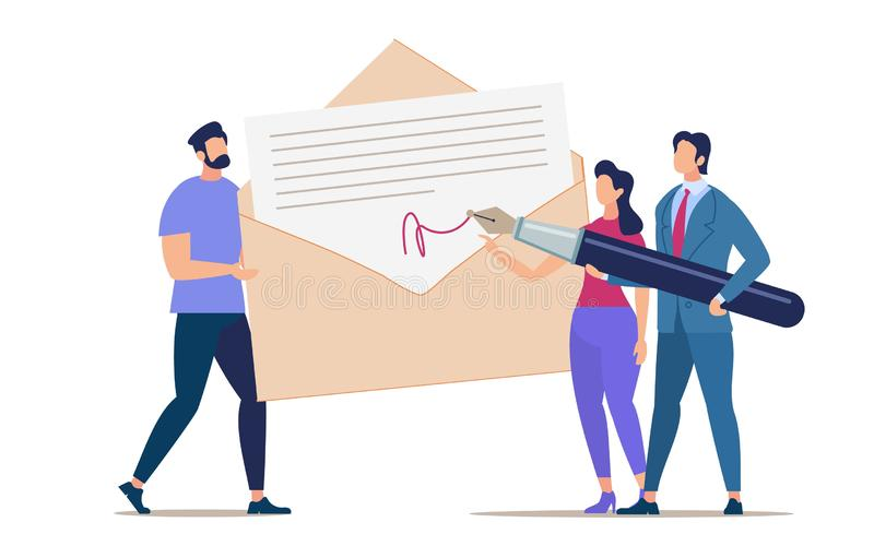 Advertising Flyer Signing and Mailing Document. Conceptual Idea People Solve Questions with Documents Through Correspondence. Woman and Man Sign Paper in vector illustration