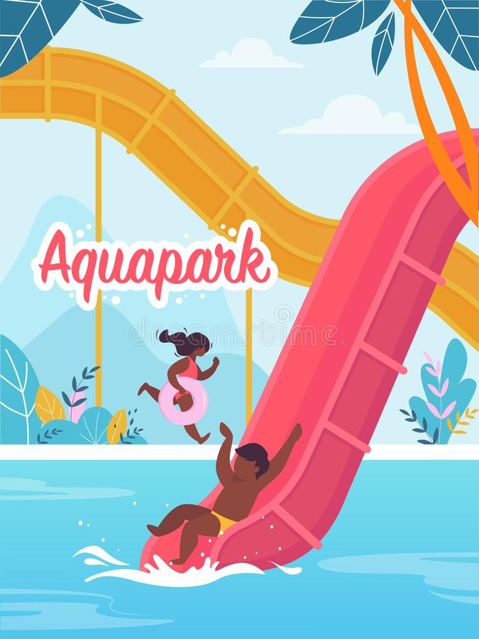Advertising Flyer is Written Aquapark Cartoon. Happy Children Play and Rejoice in Water Park. Child is Moving Down to Pool from Inflatable Slide. Girl Runs royalty free illustration