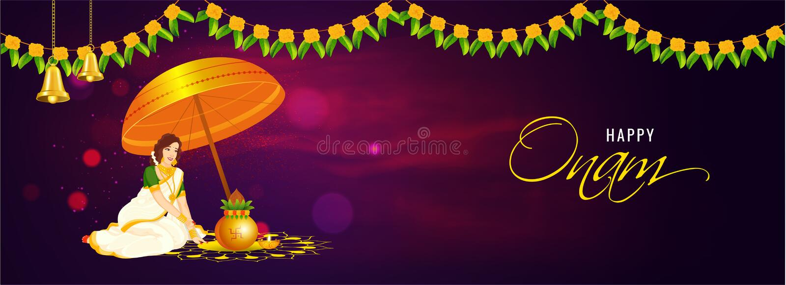 Advertising header or banner design, front view of woman worship with clay pot Kalash. stock illustration