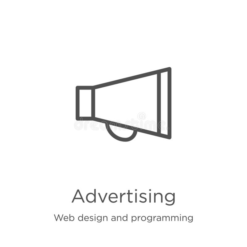 Advertising icon vector from web design and programming collection. Thin line advertising outline icon vector illustration. Advertising icon. Element of web stock illustration