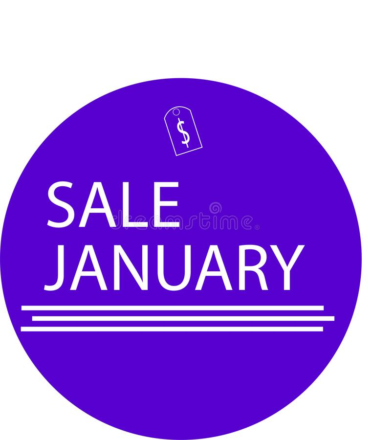 ADVERTISING ICON FOR YOUR PRODUCT SALE JANUARY WITH MONEY ICON stock photography