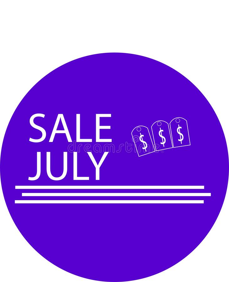 ADVERTISING ICON FOR YOUR PRODUCT SALE JULY WITH MONEY ICON royalty free stock images