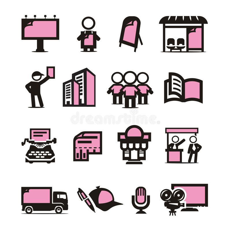 Download Advertising icons set stock vector. Image of cards, agency - 33027200