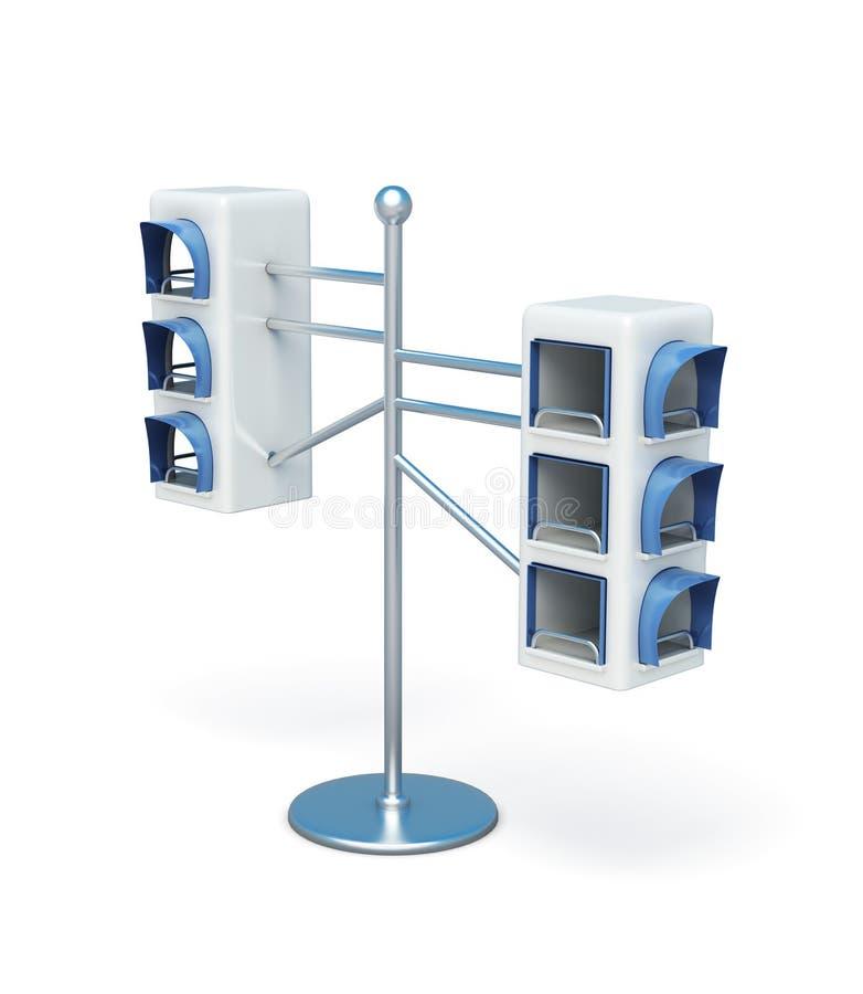 Advertising information desk on white background. 3d re stock illustration