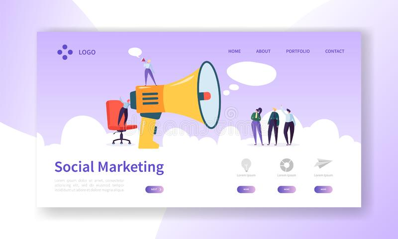 Advertising Landing Page for Digital Marketing Website Template Design. Woman Talking Loudspeaker to Group of People vector illustration