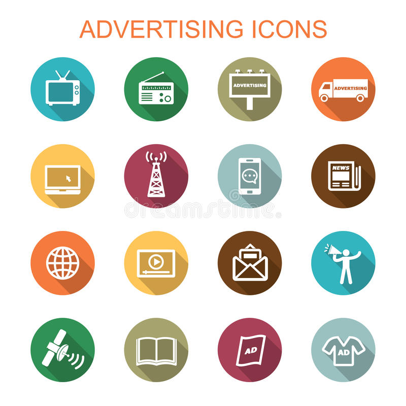 Free Advertising Long Shadow Icons Royalty Free Stock Photos - 47571488
