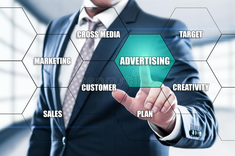 Advertising Marketing Plan Branding concept on the hexagons and transparent honeycomb structure presentation screen. Man pressing button on display with word royalty free stock photos