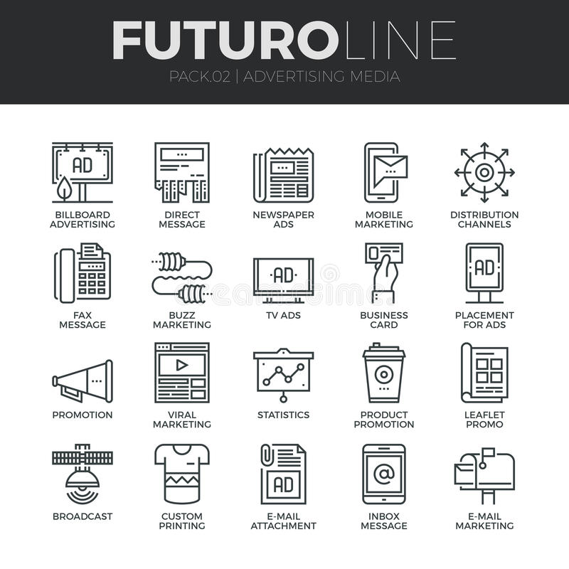 Advertising Media Futuro Line Icons Set. Modern thin line icons set of advertising media channels and ads distribution. Premium quality outline symbol collection vector illustration