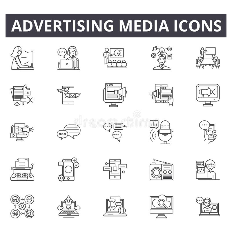 Advertising media line icons. Editable stroke signs. Concept icons: business, marketing, communication, mobile promotion stock illustration