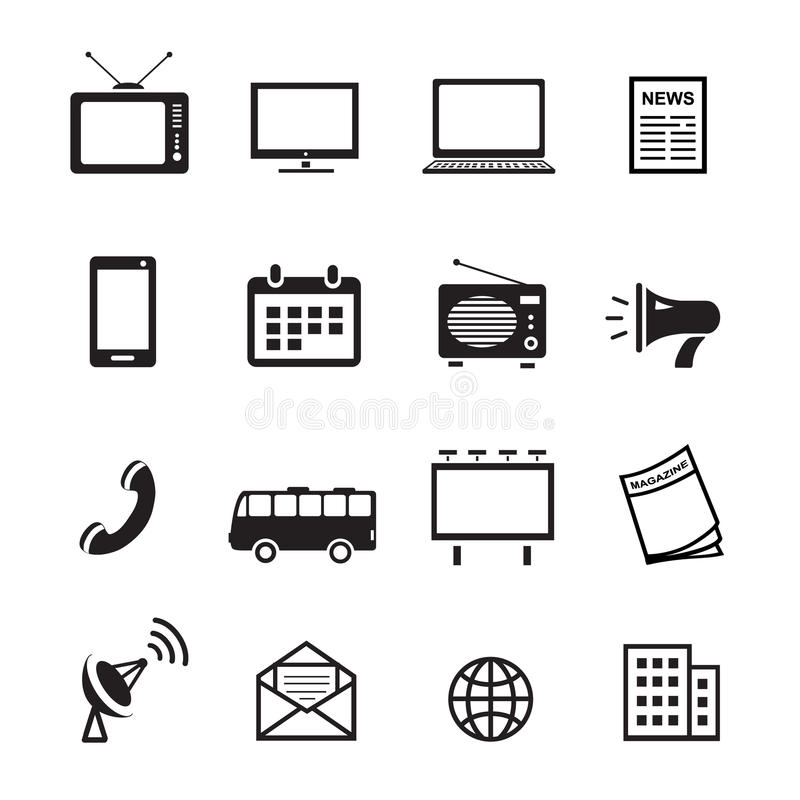 Advertising media silhouette icons, marketing and television, radio and internet content vector vector illustration