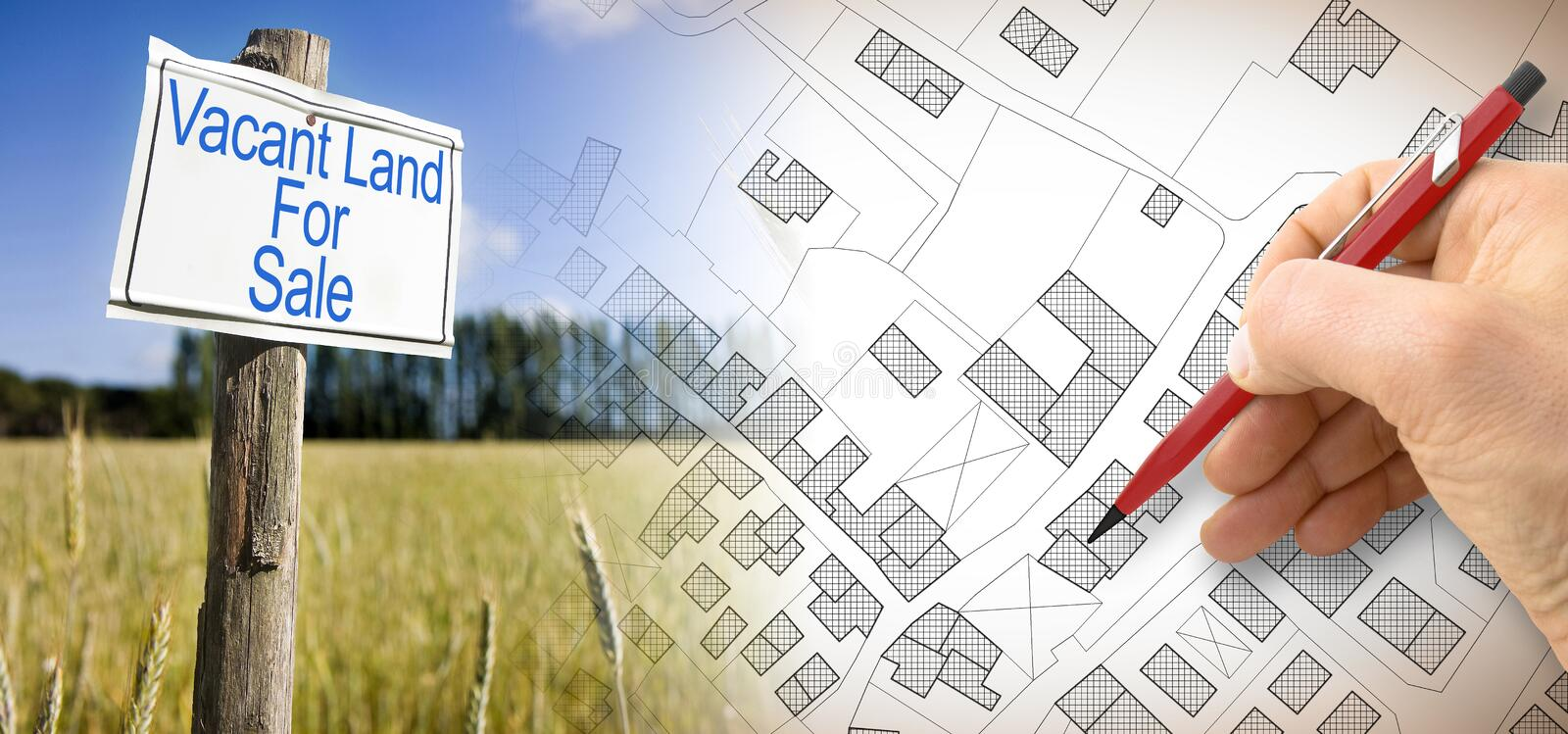 Advertising metal signboard in a rural scene with Vacant Land for Sale written on it and an imaginary cadastral map of territory royalty free stock images