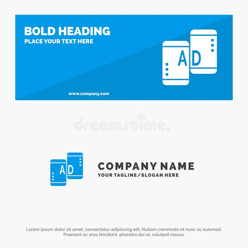 Advertising, Mobile, Mobile Advertising, Marketing SOlid Icon Website Banner and Business Logo Template stock illustration