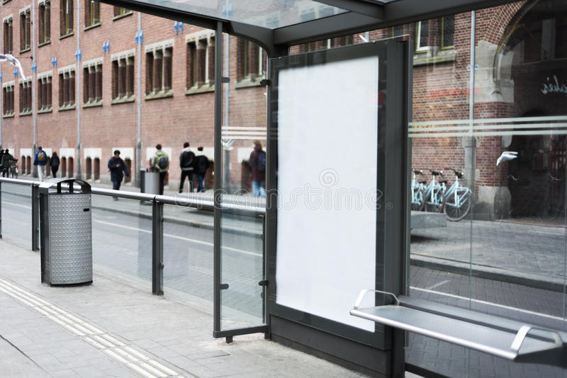 Advertising mockup. Outdoor kiosk advertising mockup busstop royalty free stock photography