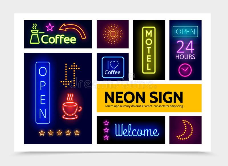 Advertising Neon Signs Infographic Template stock illustration