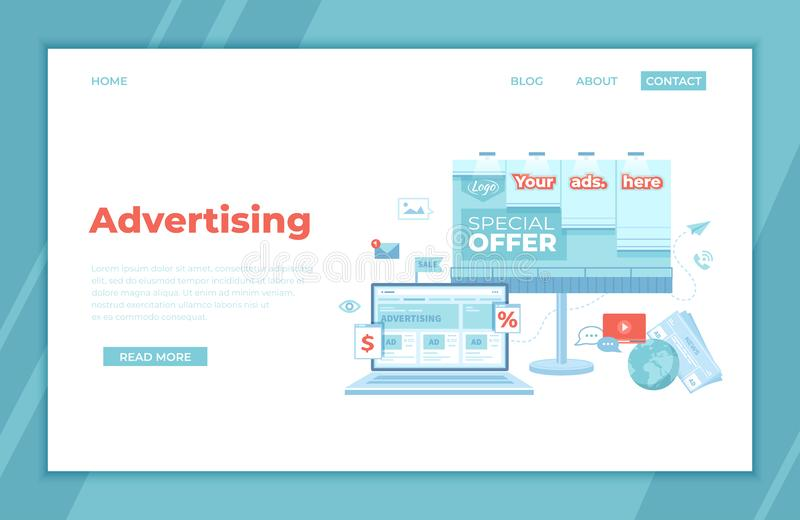 Advertising Outdoor and Online.  Billboard, newspaper with offers, discounts and laptop with social media ad website. Advertising stock illustration