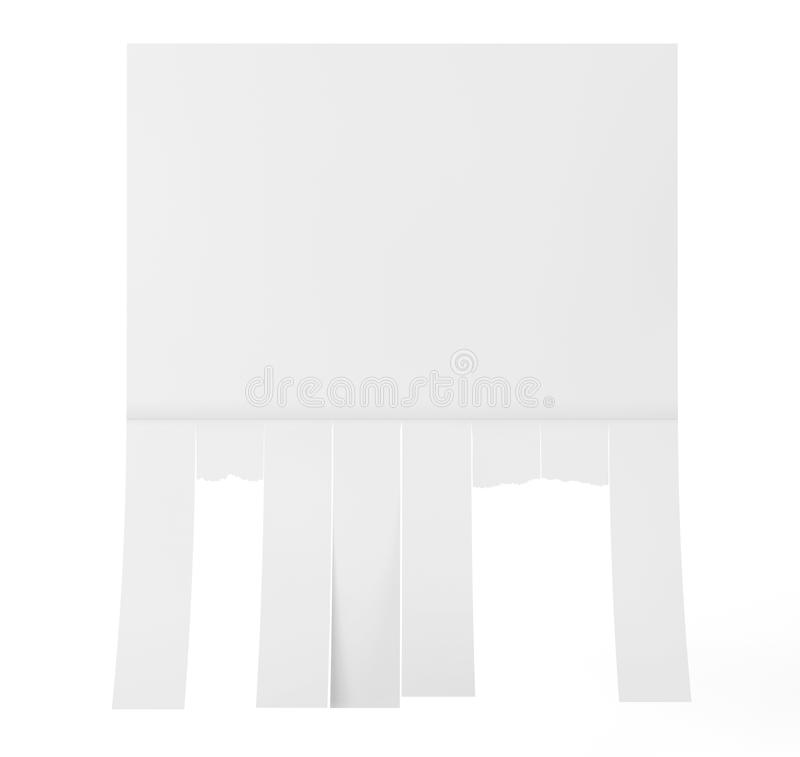 Advertising Papers with Cut Slips. 3d Rendering. Advertising Papers with Cut Slips on a white background. 3d Rendering stock illustration