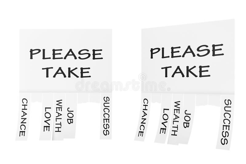 Advertising Papers with Cut Slips and Please Take Sign. 3d Rendering. Advertising Papers with Cut Slips and Please Take Sign on a white background. 3d Rendering stock illustration