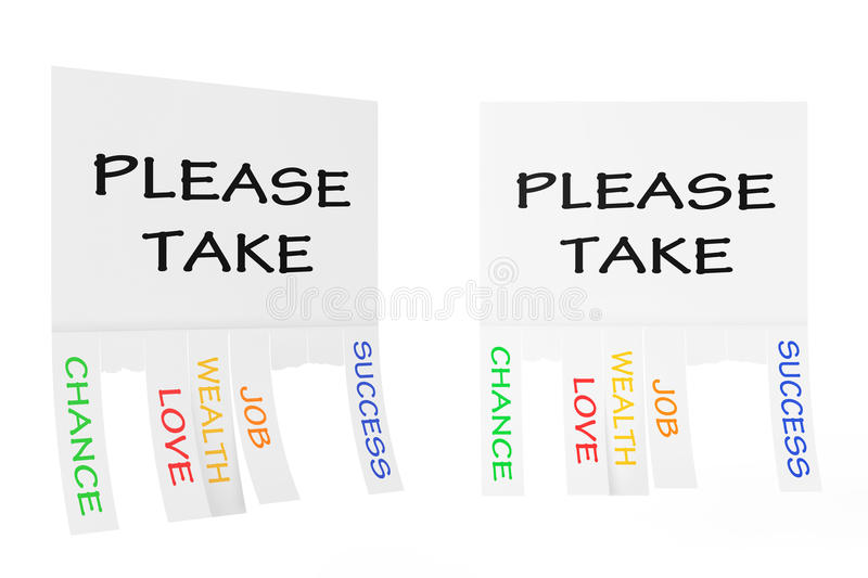 Advertising Papers with Cut Slips and Please Take Sign. 3d Rendering. Advertising Papers with Cut Slips and Please Take Sign on a white background. 3d Rendering vector illustration